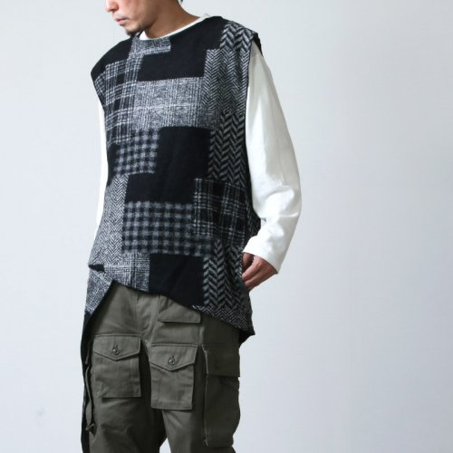 ENGINEERED GARMENTS (エンジニアードガーメンツ) Wrap Knit Vest - Knit Patchwork HB / ラップニットベスト ニットパッチワークヘリンボーン