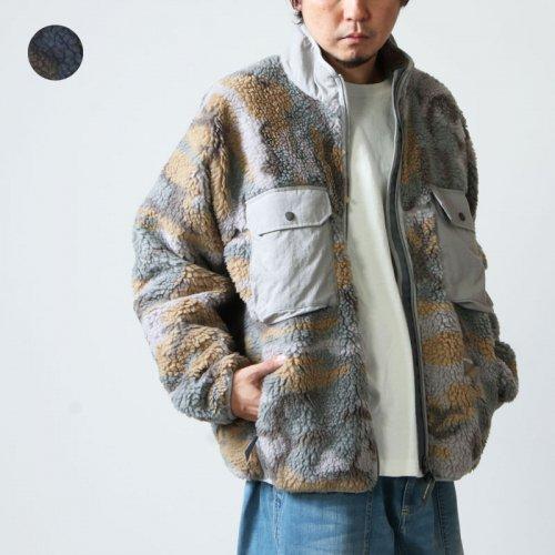 and wander (アンドワンダー) jacquard boa jacket / ジャカードボアジャケット