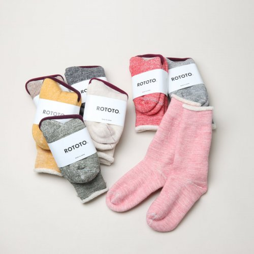 "RoToTo (ロトト) DOUBLE FACE CREW SOCKS  ""MERINOWOOL&ORGANIC COTTON"""