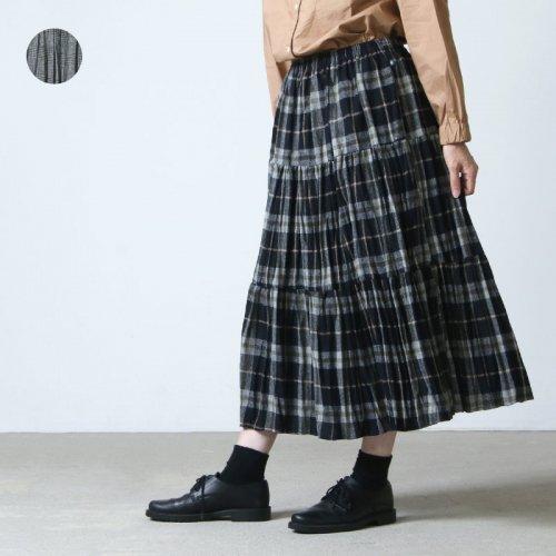 Rock mount (ロックマウント) ウールツイード3段ティアードロングプリーツスカート