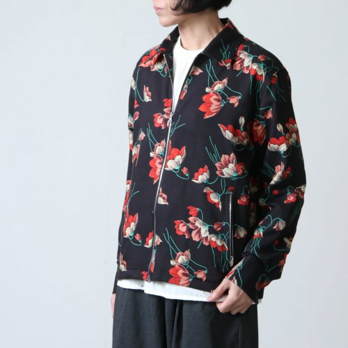 beautiful people (ビューティフルピープル) Wface bloom print zip up shirt / ダブルフェイスブルームプリントジップアップシャツ