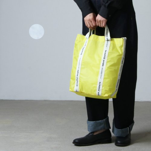 beautiful people (ビューティフルピープル) sail cloth logo tape shoulder bag light gray-yellow
