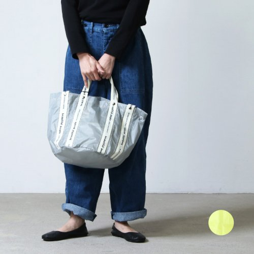 beautiful people (ビューティフルピープル) sail cloth logo tape shift bag S light gray-yellow
