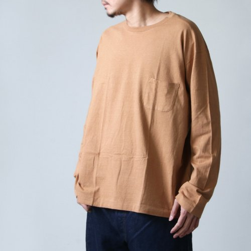 YAECA (ヤエカ) STOCK 丸胴 CREW NECK LONG SLEEVE POCKET TEE