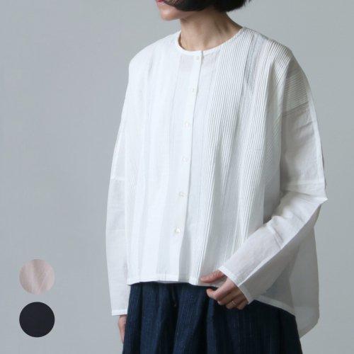 mizuiro ind (ミズイロインド) ピンタックノーカラーワイドシャツ