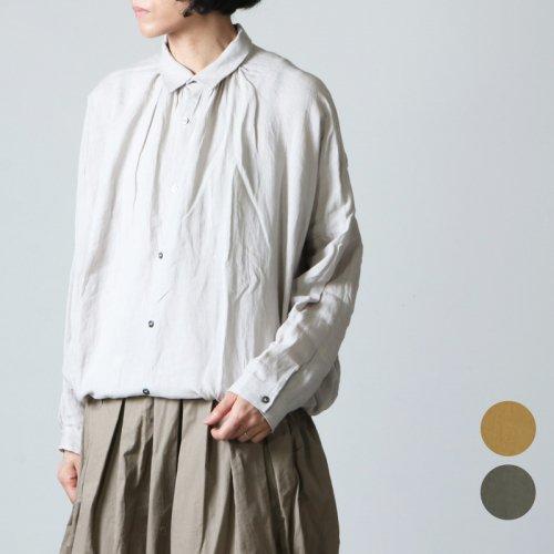ICHI Antiquites (イチアンティークス) カラーリネンギャザーシャツ