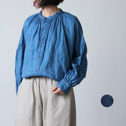 ICHI Antiquites (イチアンティークス) リネンツイル インディゴブリーチシャツ