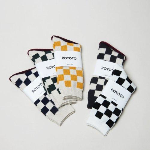 RoToTo (ロトト) CHECKERBOARD CREW SOCKS / チェッカーボードクルーソックス