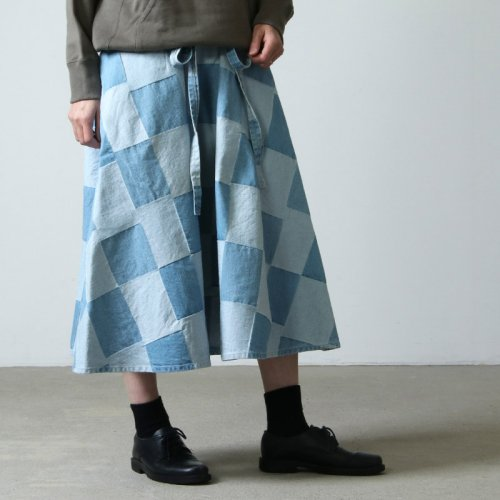 WESTOVERALLS (ウエストオーバーオールズ) PATCHWORK LOOP BELT SKIRT / パッチワークループベルトスカート