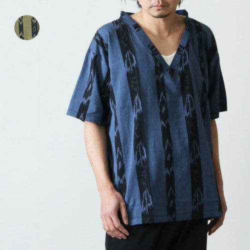 South2 West8 (サウスツーウエストエイト) S/S V Neck Shirt - Ikat Stripe / ショートスリーブVネックシャツ