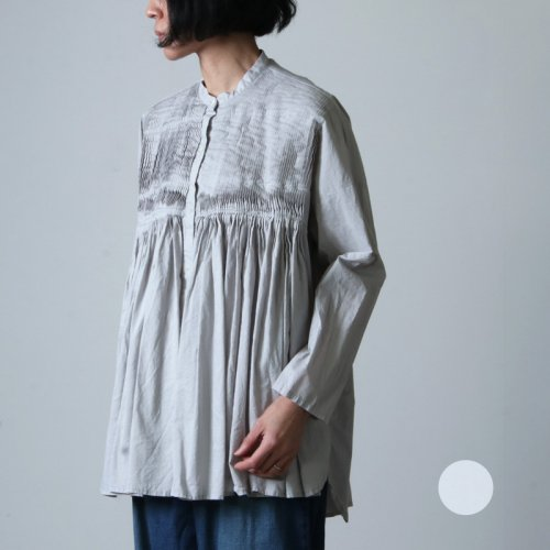 mizuiro ind (ミズイロインド) スタンドカラーピンタックシャツ