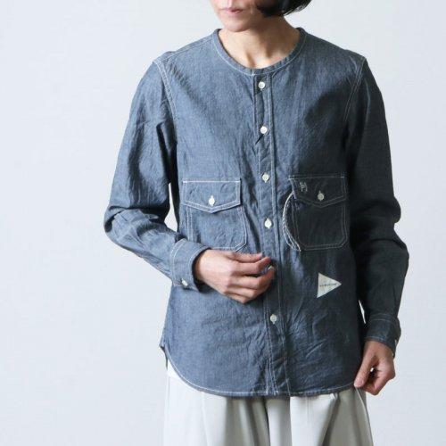 and wander (アンドワンダー) CORDURA indigo chambray collarless shirt / コーデュラインディゴシャンブレーカラーレスシャツ