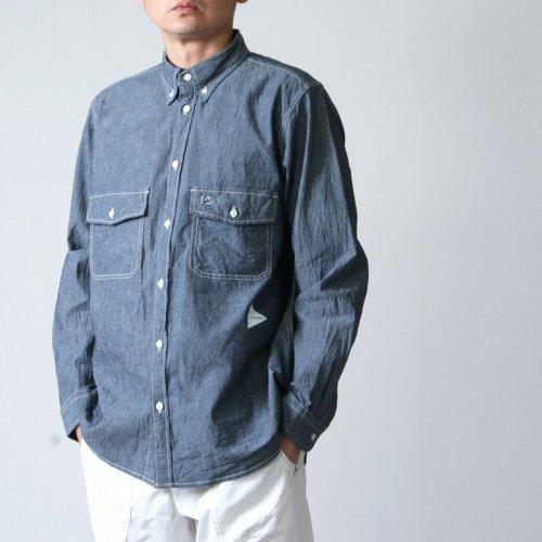 and wander (アンドワンダー) CORDURA indigo chambray shirt / コーデュラインディゴシャンブレーシャツ