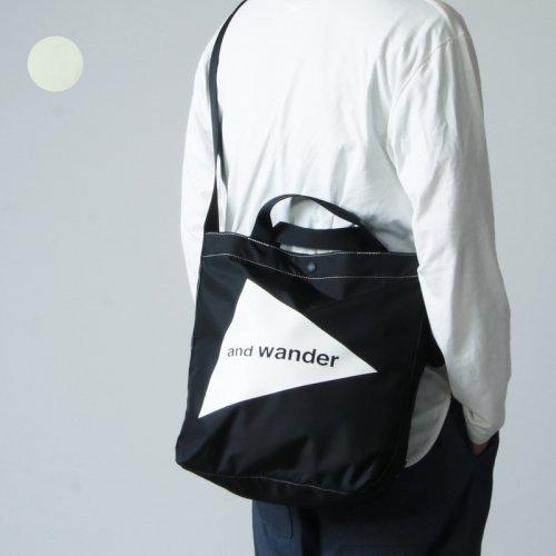 and wander (アンドワンダー) CORDURA logo tote bag medium / コーデュラロゴトートバッグミディアム