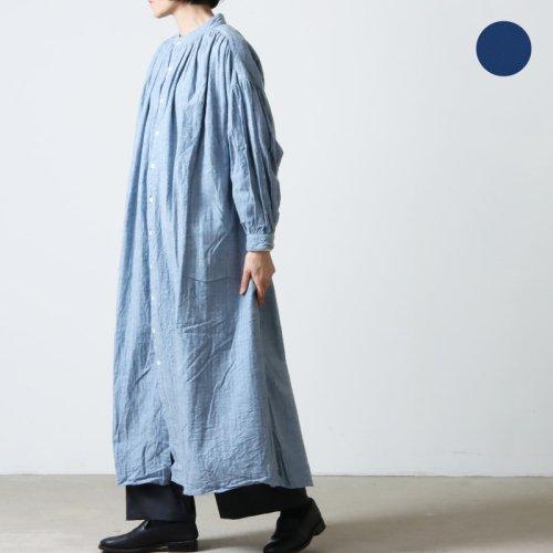 [THANK SOLD] UNIVERSAL TISSU (ユニバーサルティシュ) リネンギャザープリーツシャツドレス