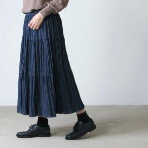 [THANK SOLD] Rock mount (ロックマウント) デニム3段ティアードロングプリーツスカート