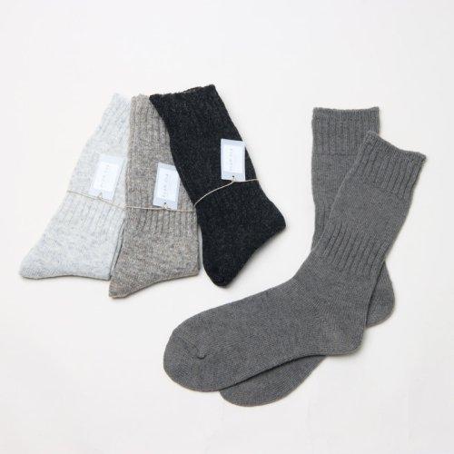evameva (エヴァムエヴァ) Wool cashmere rib socks / ウール カシミア リブソックス