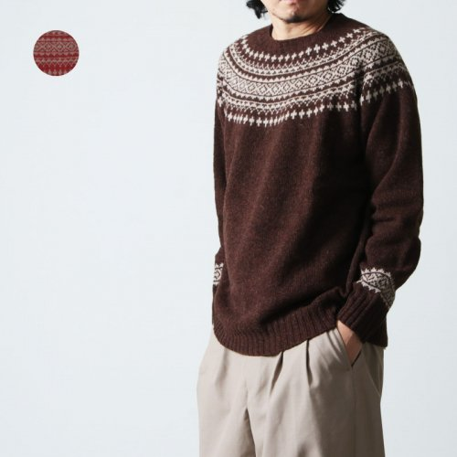 NOR'EASTERLY (ノア イースターリー) L/S WIDE NECK 2TONE NORDIC / ロングスリーブワイドネック2トーンノルディックセーター