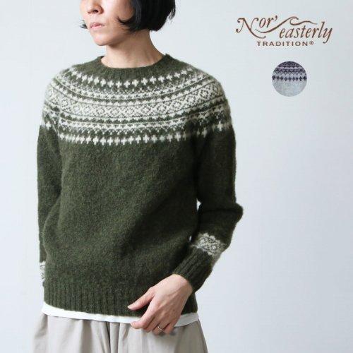 NOR'EASTERLY (ノア イースターリー) HARLEY CREW NECK 2TONE NORDIC SWEATER  / ハーレー ツートーンノルディックセーター