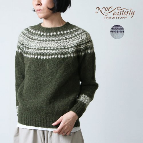 NOR'EASTERLY (ノア イースターリー) NOR'EASTERLY HARLEY  CREW NECK 2TONE NORDIC SWEATER