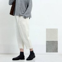 evameva (エヴァムエヴァ) Cotton linen silk cropped tuck pants