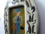 陶と木の原画「青の紳士」*石田敦子