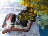絵本みたいな原画ブローチ《ミモザの花束をくれた君》*マキバドリ