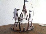 城と月のガラスのオブジェ16*caco