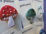 刺繍のきのこブローチ*petit panier
