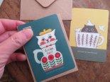 カップイン猫さんのグリーティングカード(ミニ封筒付き)*白石チエ