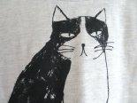 ふわっと風が通るシルクスクリーン猫さんTシャツ*ライトグレー*emoemo*神谷可奈子
