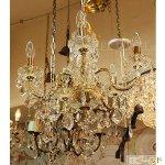 <b>【LA LUCE】</B>クリスタルシャンデリア 5灯 ゴールドorクロームorブラックorブラウンorホワイト(W500×H500mm)