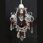 【在庫有!】【NORIKO HERRON】デザインシャンデリア「Diamante Mini Silver Red」1灯(W180×H220mm)
