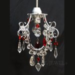<B>【在庫有!】【NORIKO HERRON】</B>デザインシャンデリア「Diamante Mini Silver Red」1灯(W180×H220mm)