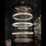 デザイン照明 クリスタルフープシャンデリア 10灯 クローム(φ800×H1300mm)