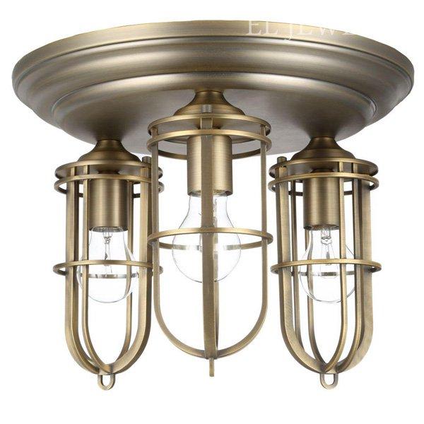 【FEISS】 アメリカ製デザインシーリングシャンデリア「LIGHT URBAN RENEWAL FLUSHMOUNT」3灯(W381×H287mm)
