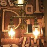 【1台在庫有!】インダストリアル・スタイル照明 パイプ&ジョッキ型シェードブラケット2灯(W360×H350mm)