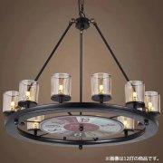 【2台在庫有】インダストリアル・スタイル照明・時計板&ガラスシェード付16灯