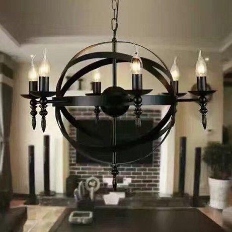 【在庫有!】 デザイン照明ブラックシャンデリア6灯(W600×H500mm)