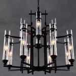 インダストリアル・スタイル照明 ガラスシェードシャンデリア 12灯