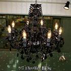 クリスタルシャンデリア 8灯 ブラック(W750×H750mm)