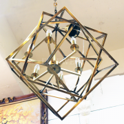 【在庫有!】デザインシャンデリア「CAGED CUBIST」ゴールド6灯(W770×H810mm)