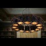 インダストリアル・スタイル照明 ブラックシェードライト 12灯:φ1100 H250