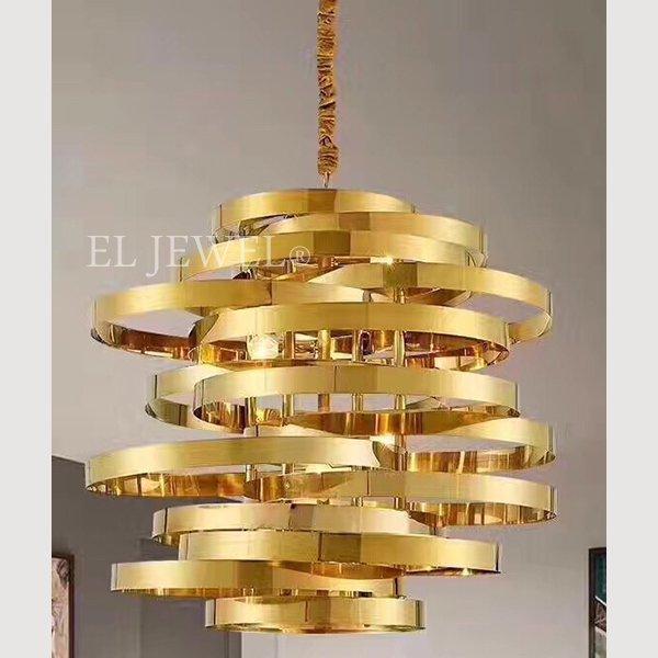 ミッドセンチュリー・スタイル照明 7灯 ゴールド(φ750×H750)