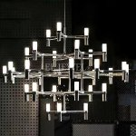 ミッドセンチュリー・スタイル照明 32灯 クローム (φ1550 H1100)