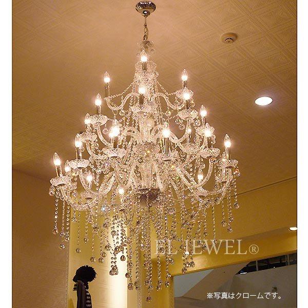 【4月入荷予定】【LA LUCE】クリスタルシャンデリア24灯【豪華版・縦型】ゴールド