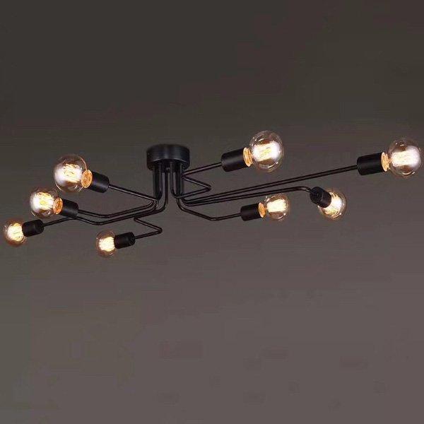 【在庫有!】 インダストリアル・シーリングライト ブラック8灯(W1200*650*350mm)