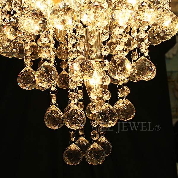 【1台在庫有!】【LA LUCE】デザインクリスタルボールシャンデリア 5灯 クローム(W300×H380mm)