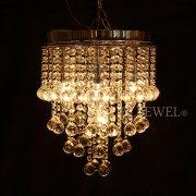 <b>【LA LUCE】</B>デザインクリスタルボールシャンデリア 5灯 クローム(W300×H380mm)