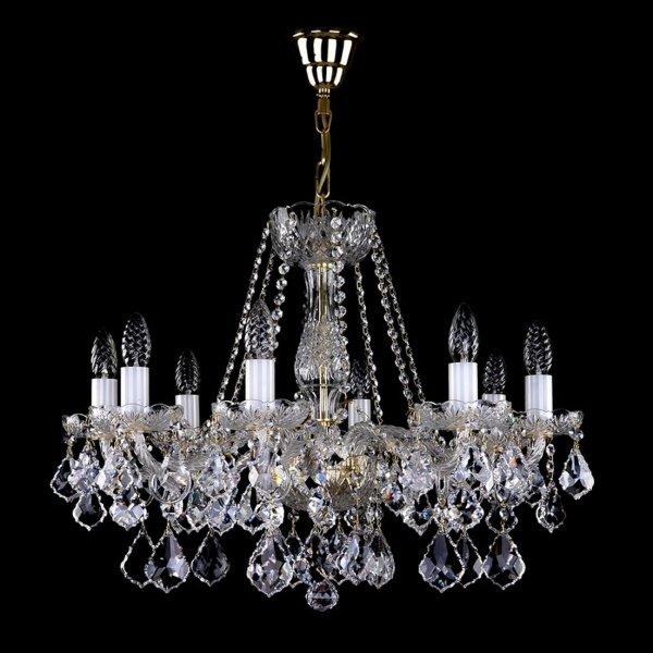 【在庫有!チェコクリスタル ゴールド】【ART GLASS】クリスタルシャンデリア 8灯(W660×H500mm)